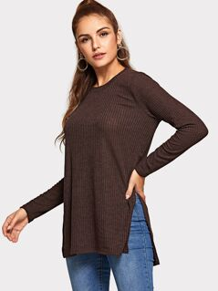 Split Side Ribbed Knit Solid Tee