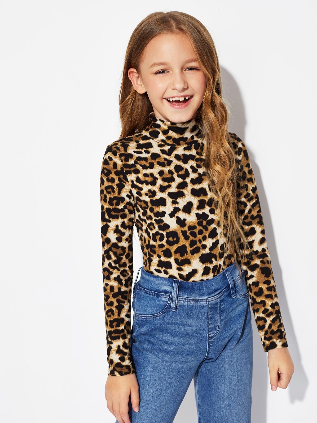 Купить Леопардовая футболка состоячим вырезом для девочек, Sashab, SheIn