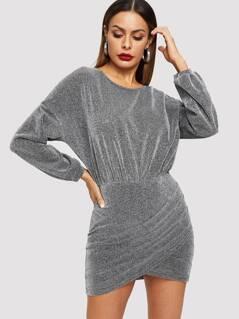 Overlap Hem Glitter Dress