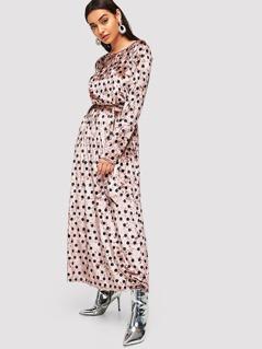 Polka Dot Print Flare Velvet Dress