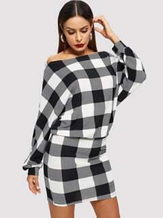 Off Shoulder Dolman Sleeve Plaid Blouson Dress