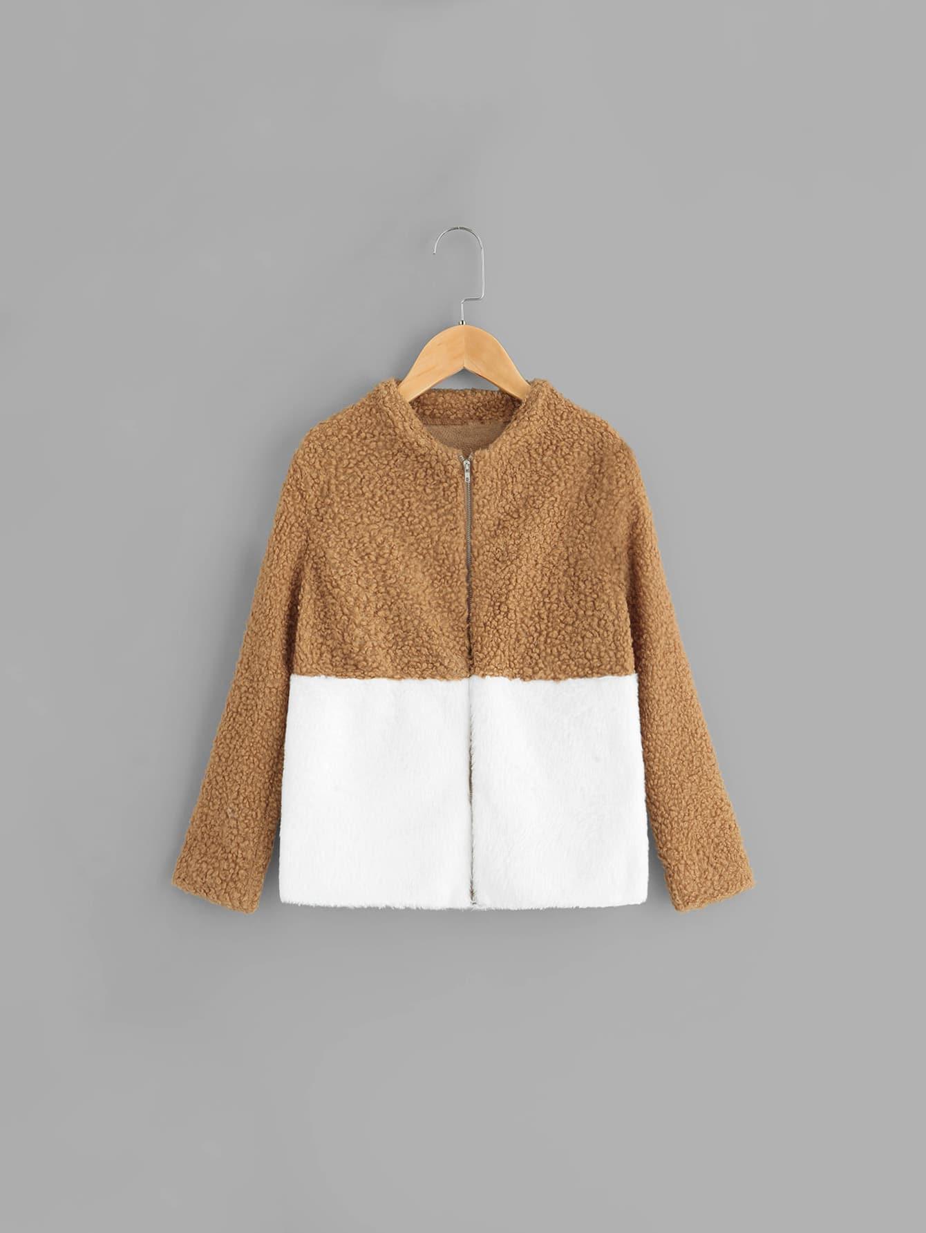 Купить Двухцветное пальто тедди с застёжкой молния для девочек, null, SheIn