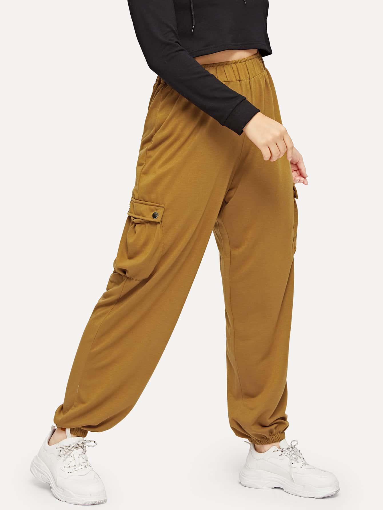 Купить Размер плюс брюки с эластичным низом, Isabela, SheIn