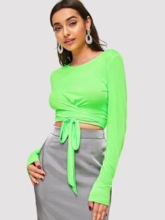 Neon Lime Knot Hem Solid Crop Top