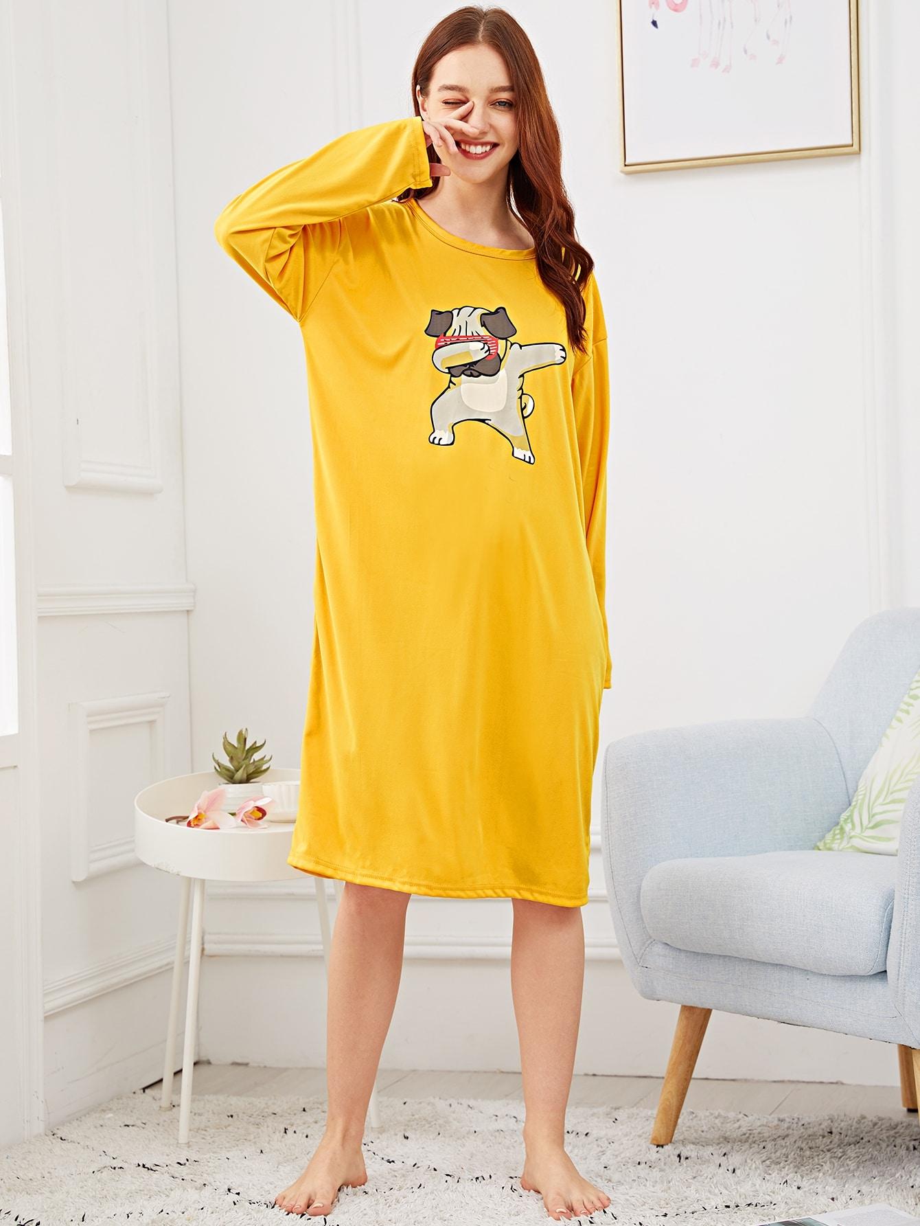 Купить Ночная сорочка с заниженной линией плеч и принтом собаки, Poly, SheIn