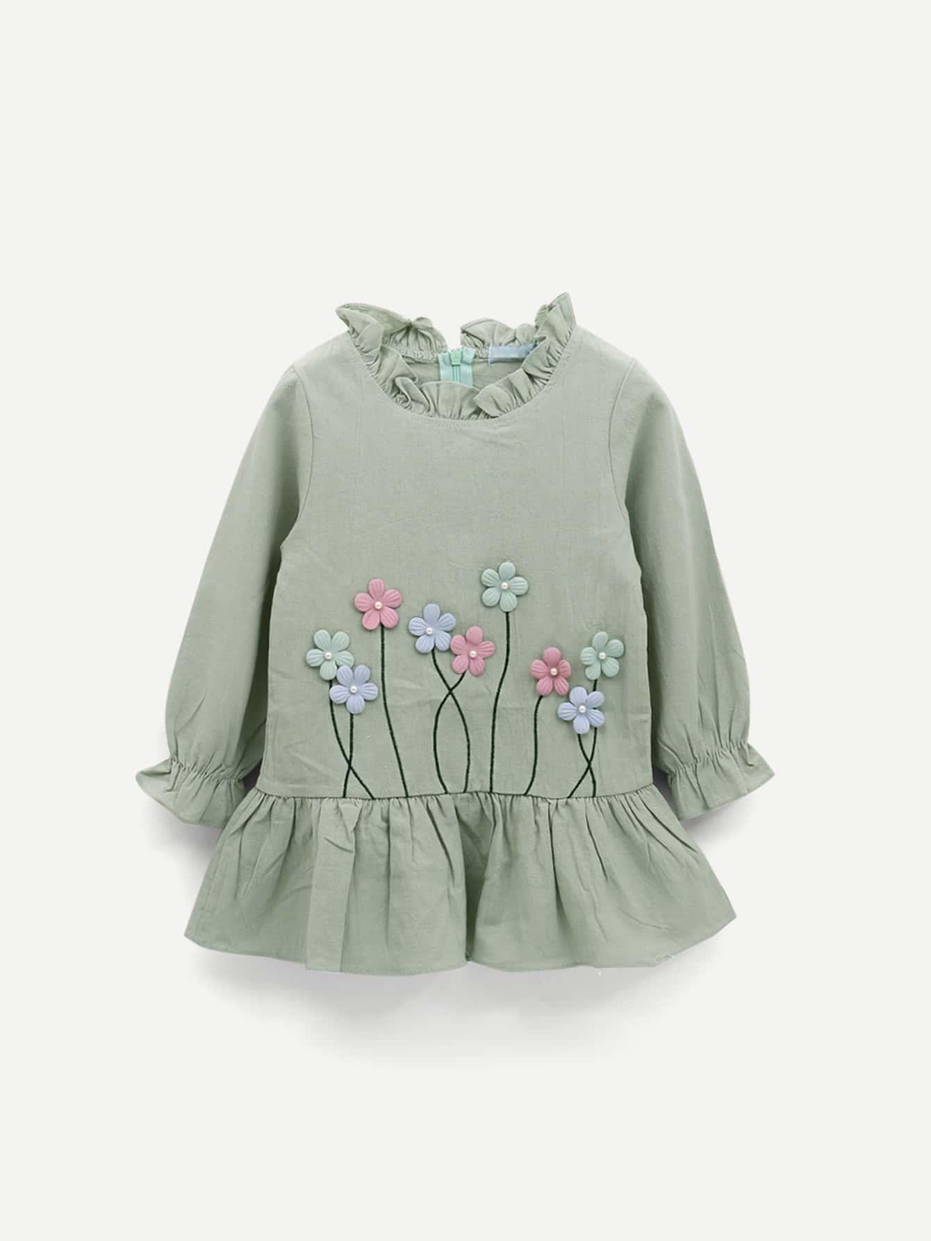 Купить Асимметричное платье с украшением цветов для малышских девочек, null, SheIn