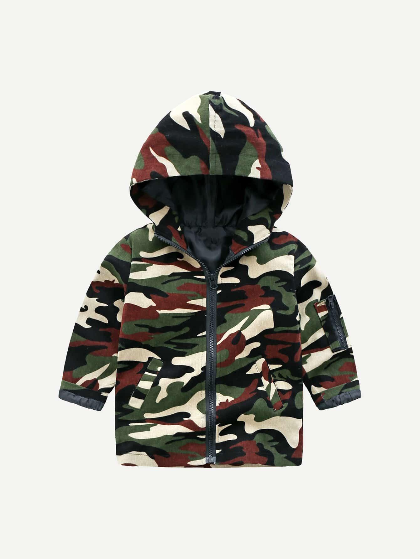 Купить Камуфляжное пальто с капюшоном для маленьких мальчиков, null, SheIn
