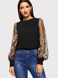 Embroidered Flower Sheer Mesh Top