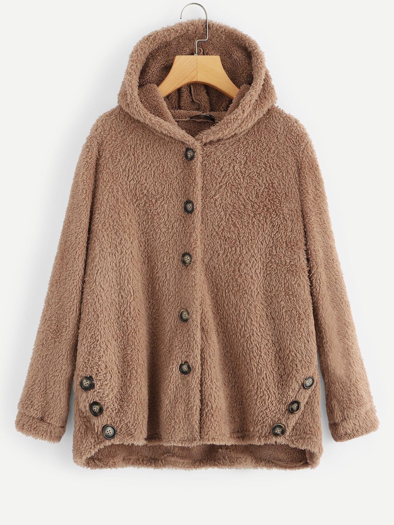 Купить Пушистое пальто на пуговицах с капюшоном, null, SheIn