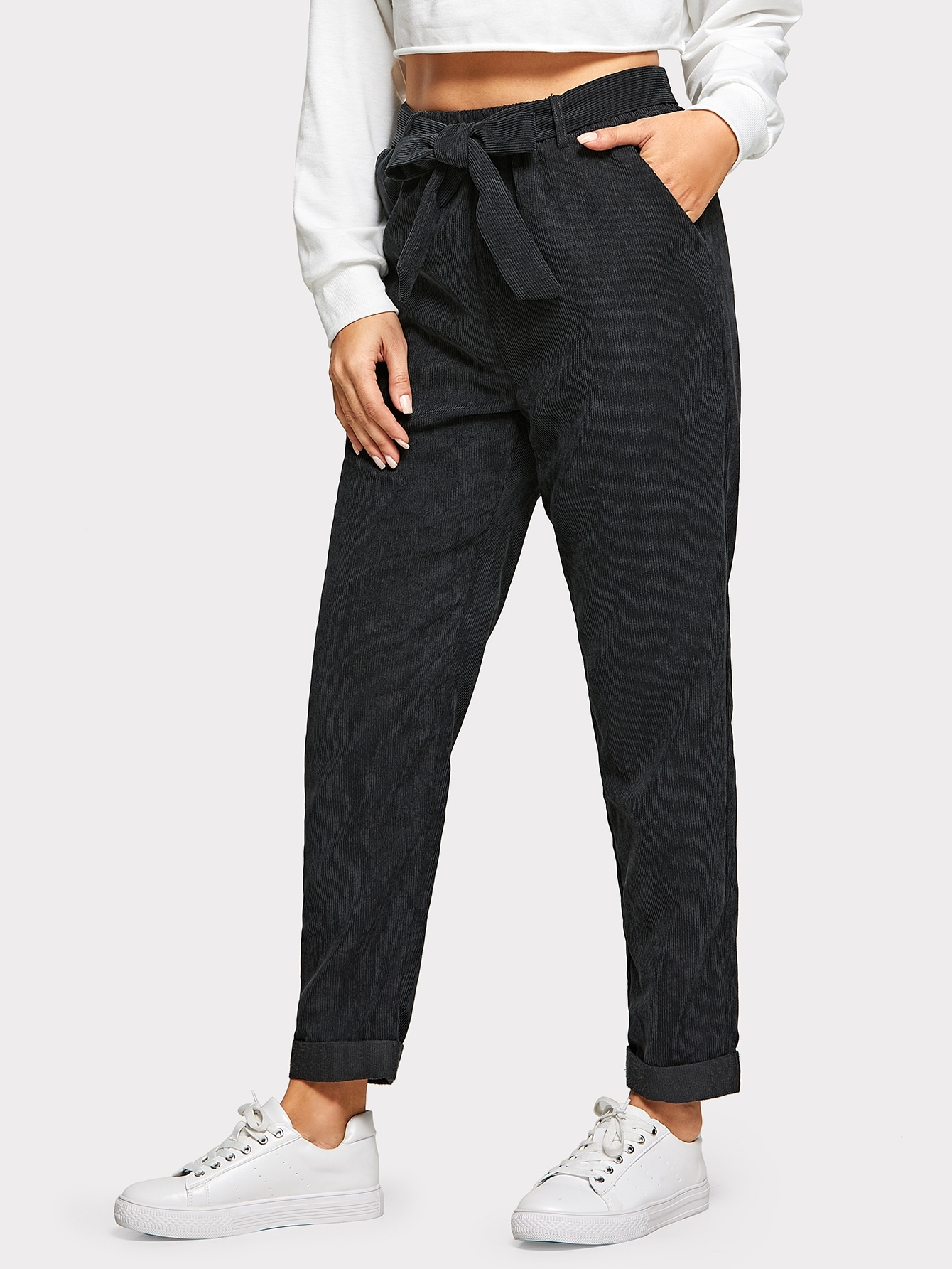 Купить Однотонные вельветовые брюки с поясом, Lisa A, SheIn