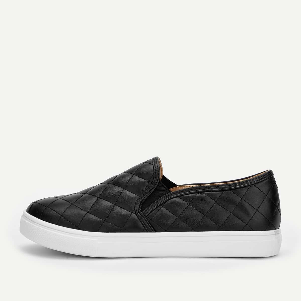 Черные Туфли Из Стеганного Текстиля На Широкой Подошве от SHEIN