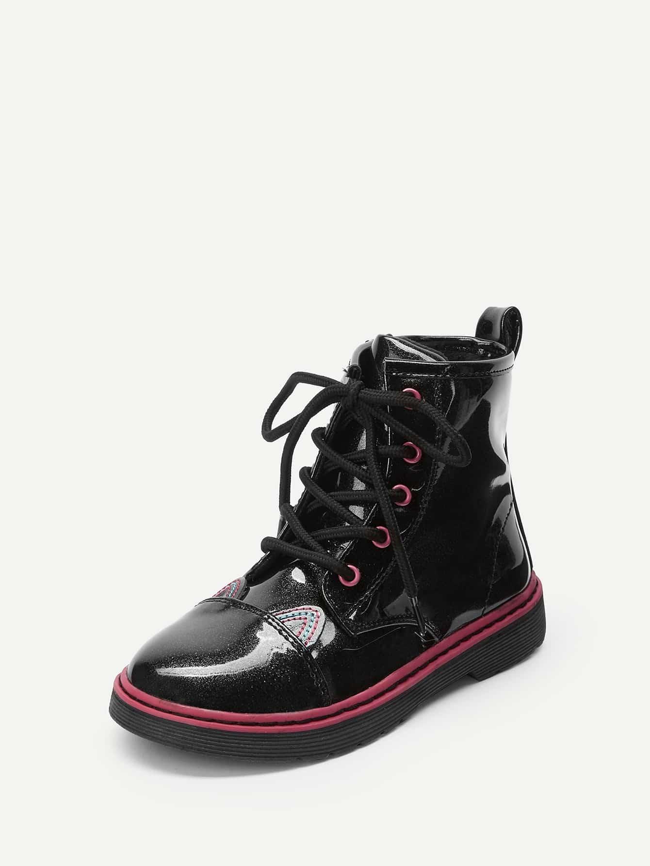 Купить Сапоги с шнурками и мультяшным украшением для маленьких детей, null, SheIn