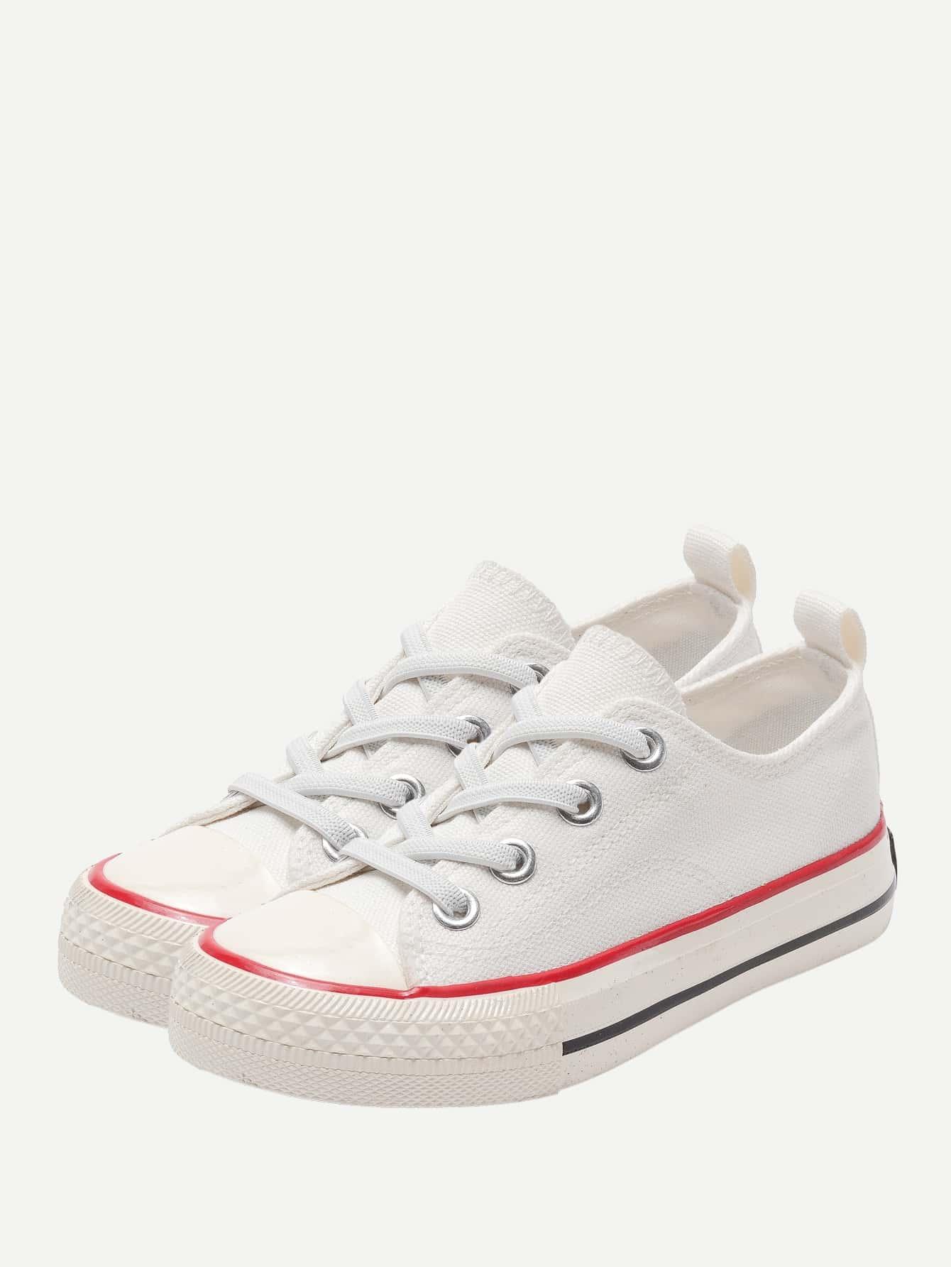 Купить Парусиновые кроссовки с шнурками для маленьких детей, null, SheIn