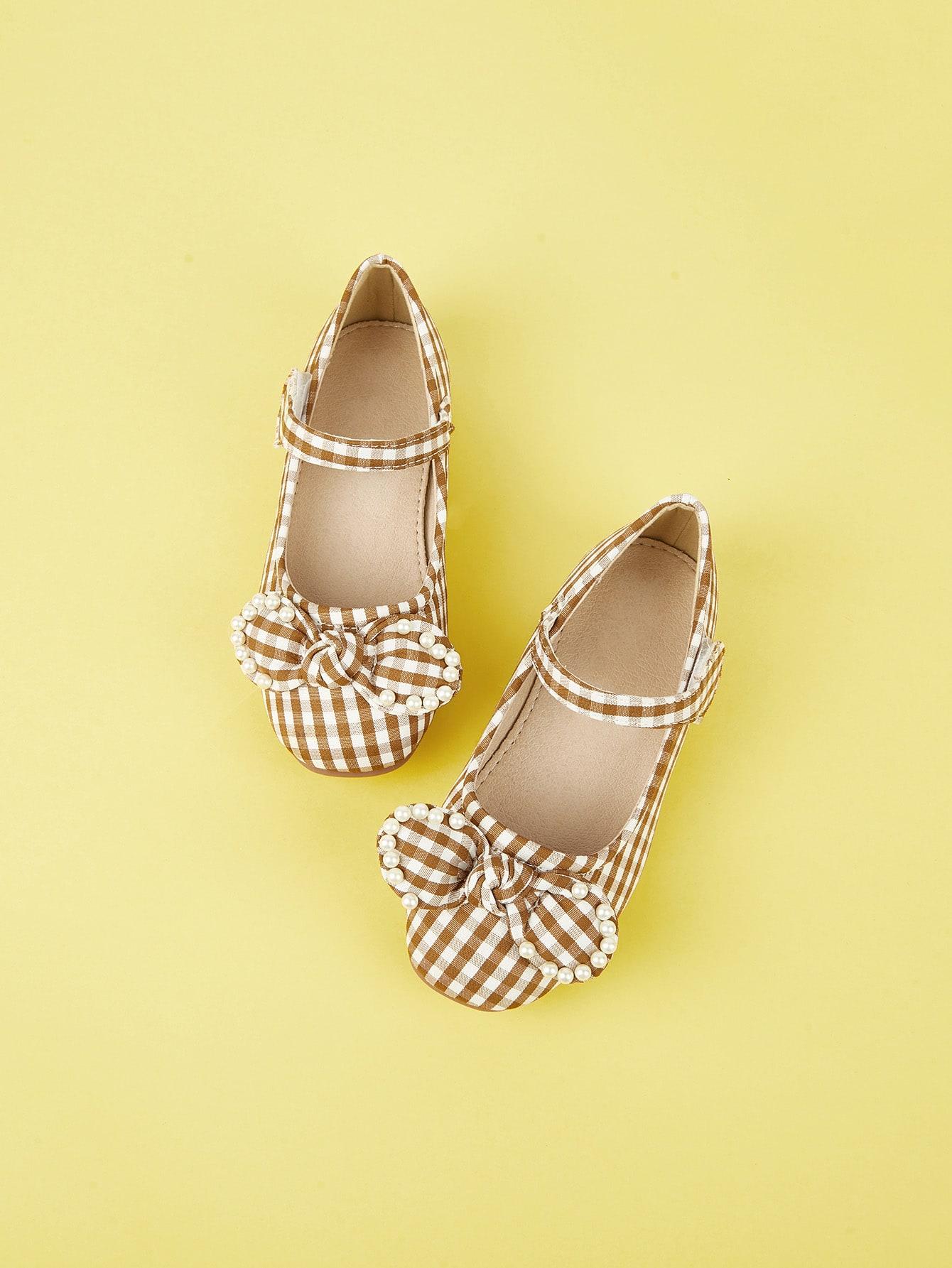 Купить Туфли на плоской подошве в клетку с бантом для маленьких девочек, null, SheIn