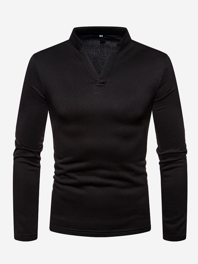 Купить Мужская однотонная поло рубашка с V-образным вырезом, null, SheIn