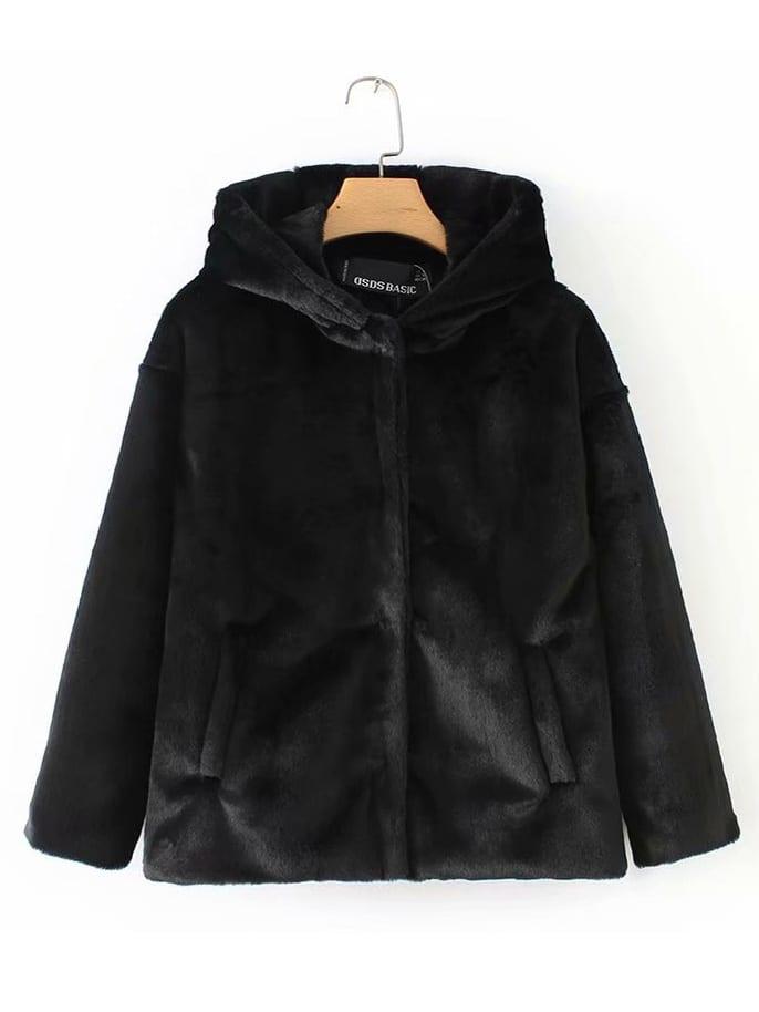 Купить Однотонное пушистое пальто с капюшоном, null, SheIn