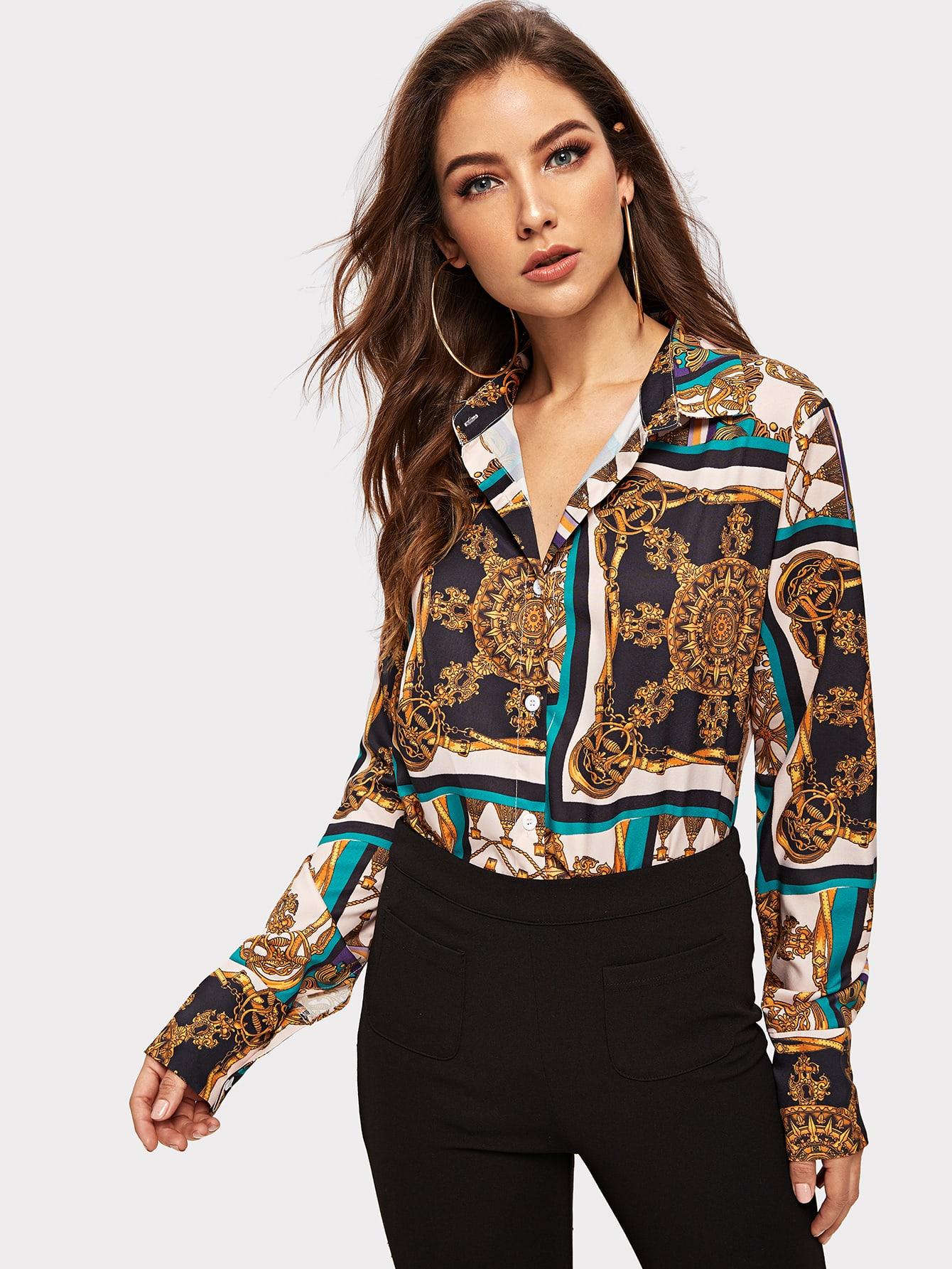 Купить Блузка с графическим принтом, Debi Cruz, SheIn