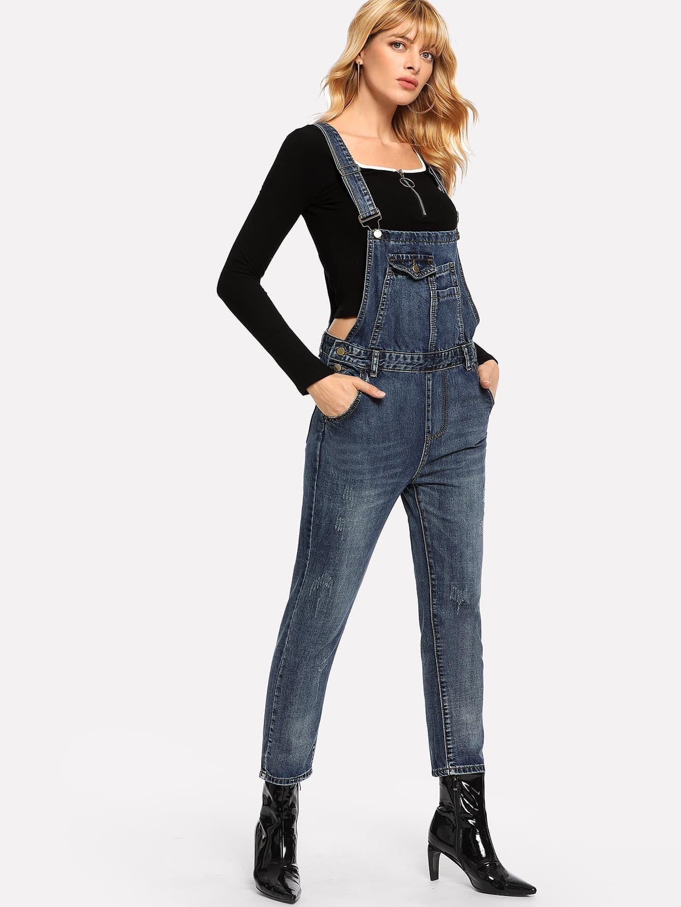 Купить Рваный джинсовый комбинезон с карманом, Masha, SheIn