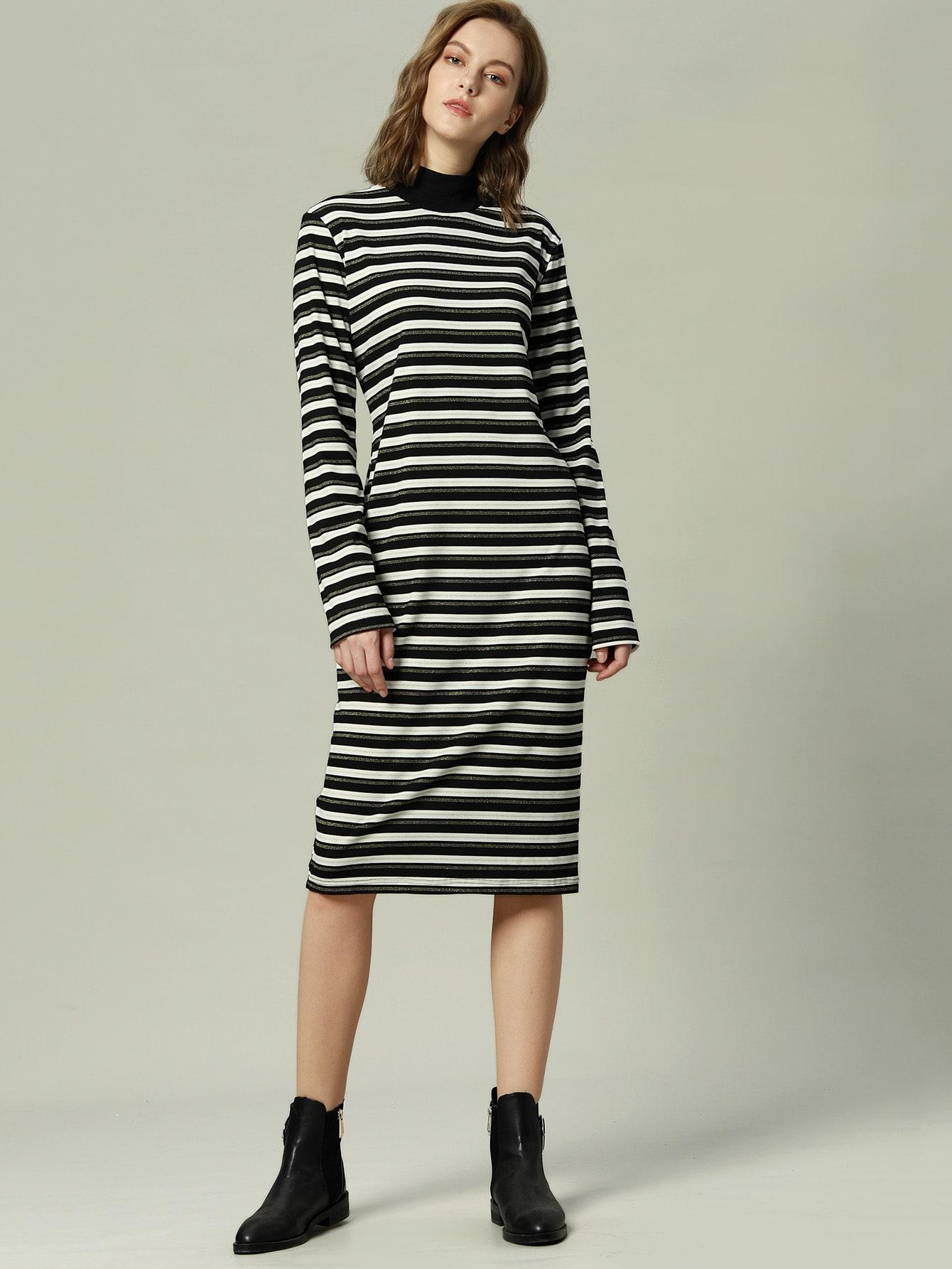 Купить Полосатое платье со стоячим воротником, null, SheIn
