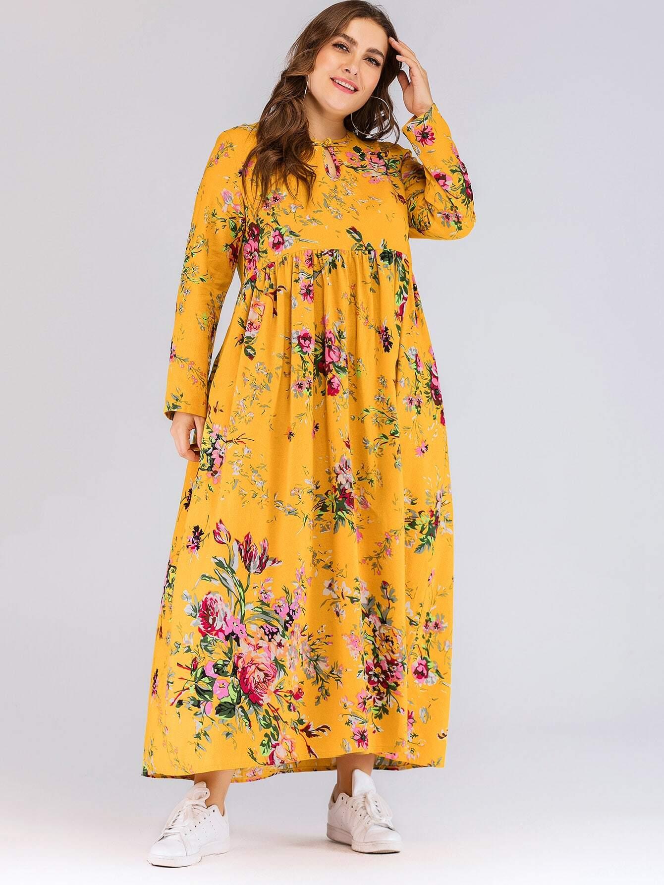 Размера плюс длинное платье с цветочным принтом