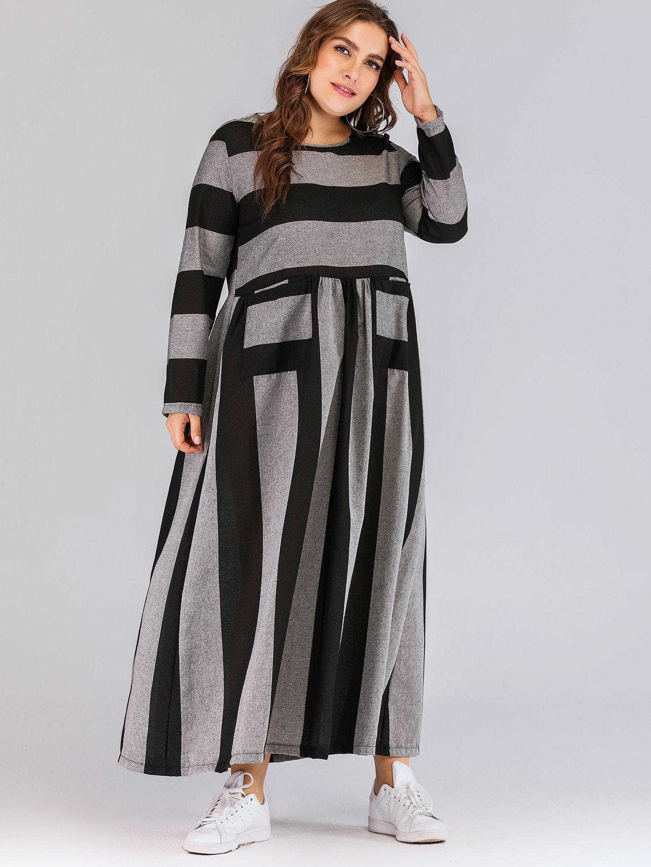 Размера плюс полосатое длинное платье с карманом