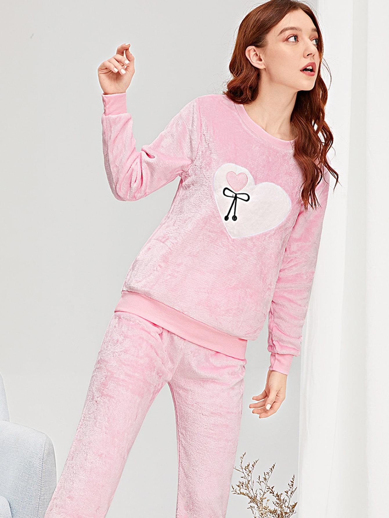 Купить Пушистая пижама с принтом вышитого сердца, Poly, SheIn