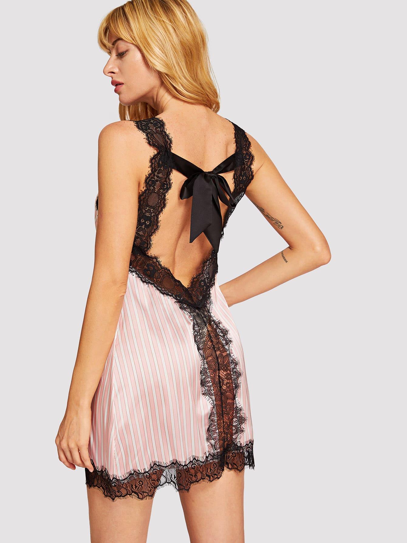 Купить Полосатая ночная сорочка с бантом и кружевами, Masha, SheIn