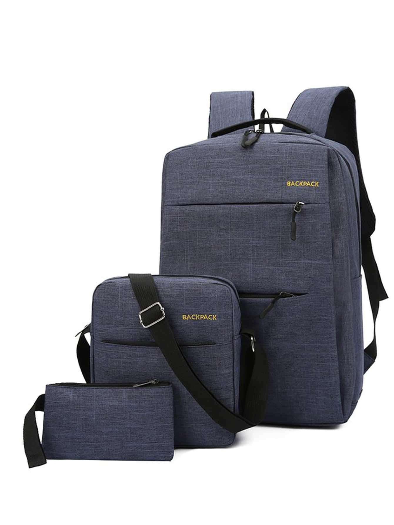 Купить Мужский рюкзак с текстовым принтом и кошельком 3 шт, null, SheIn