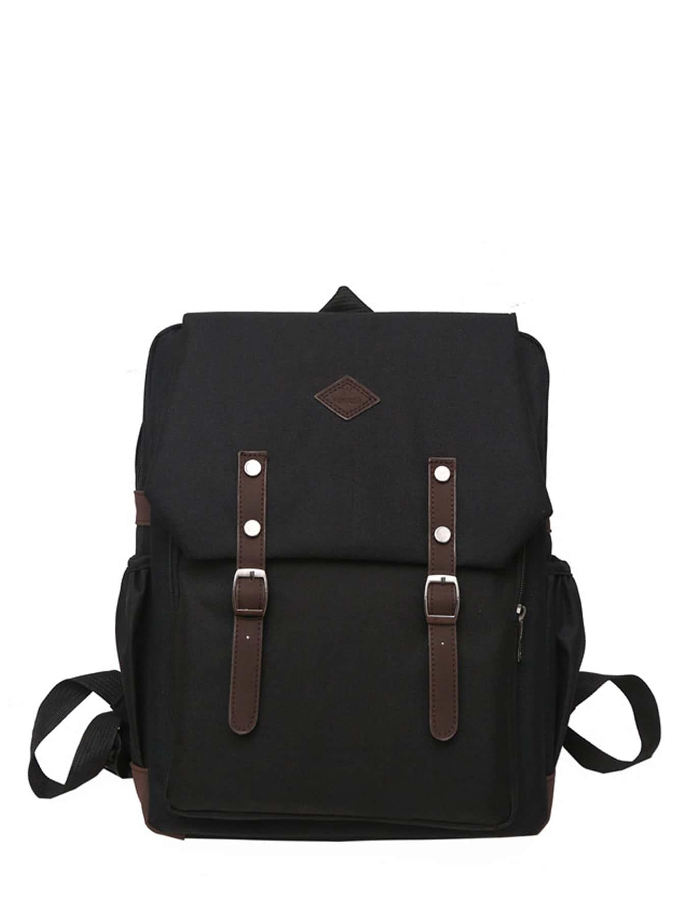 Купить Мужский рюкзак с лентой и двумя пряжки, null, SheIn