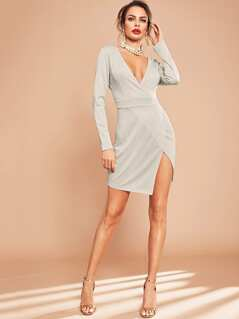 Plunge Neck Wrap Split Dress