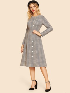 Contrast Button Through Plaid Flare Dress