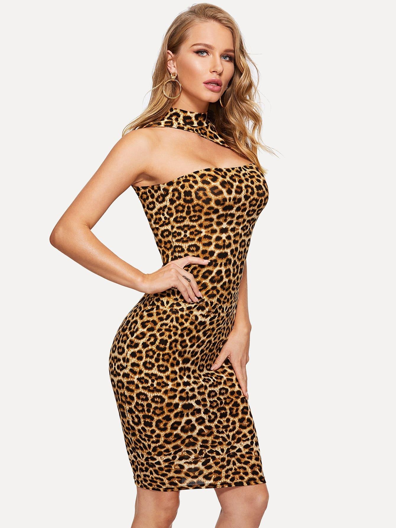 Фото - Леопардовое платье с асимметричным вырезом от SheIn цвет многоцветный