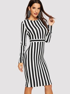 Form Fitted Striped Dress