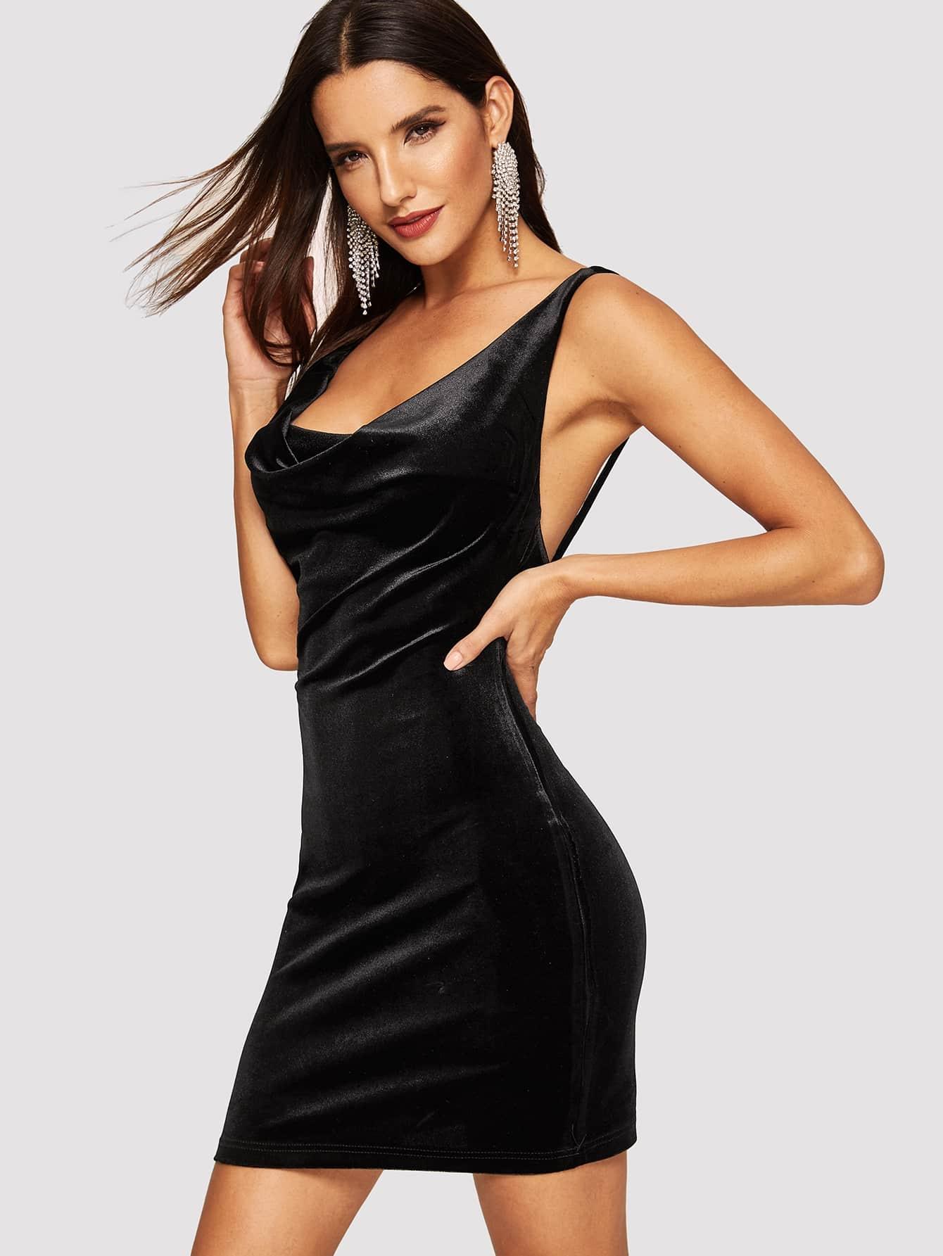 Купить Бархатное платье с оригинальным вырезом, Juliana, SheIn