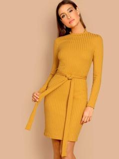 Waist Belted Mock-Neck Ribbed Knit Dress