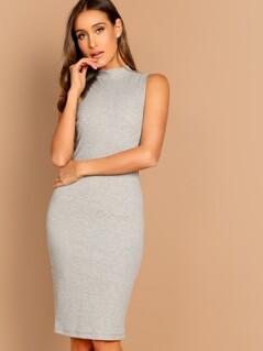 Mock-neck Slim Fitted Ribbed Dress