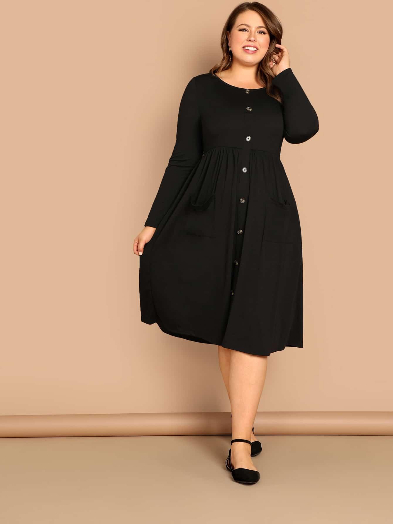 Купить Стильное платье клеш с карманом размера плюс, Bailey Carr, SheIn