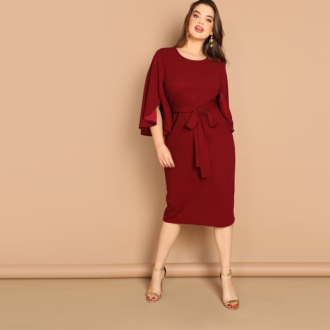 Bordeaux Elegant Vlak Grote maten jurken Split