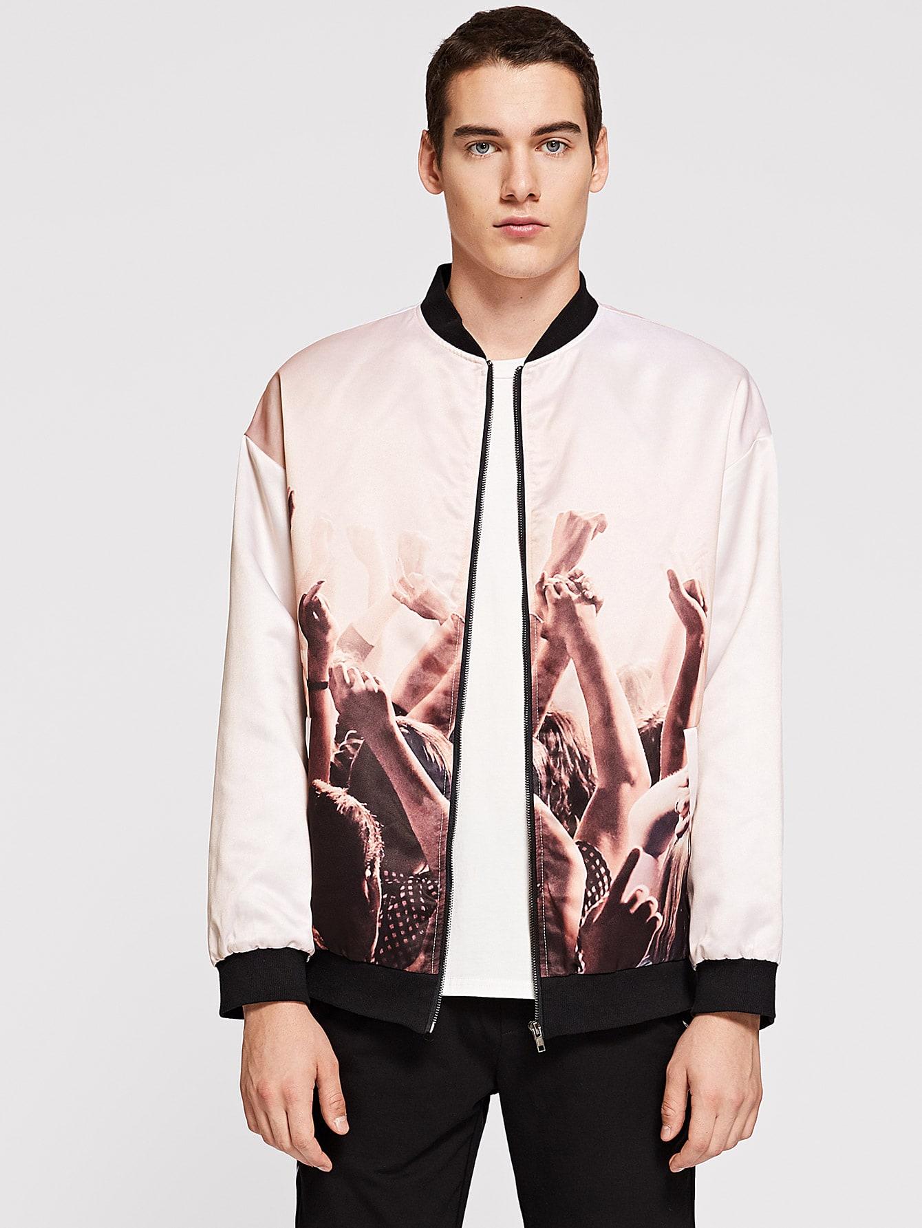 Купить Мужская куртка на молнии с графическим принтом, Misha, SheIn