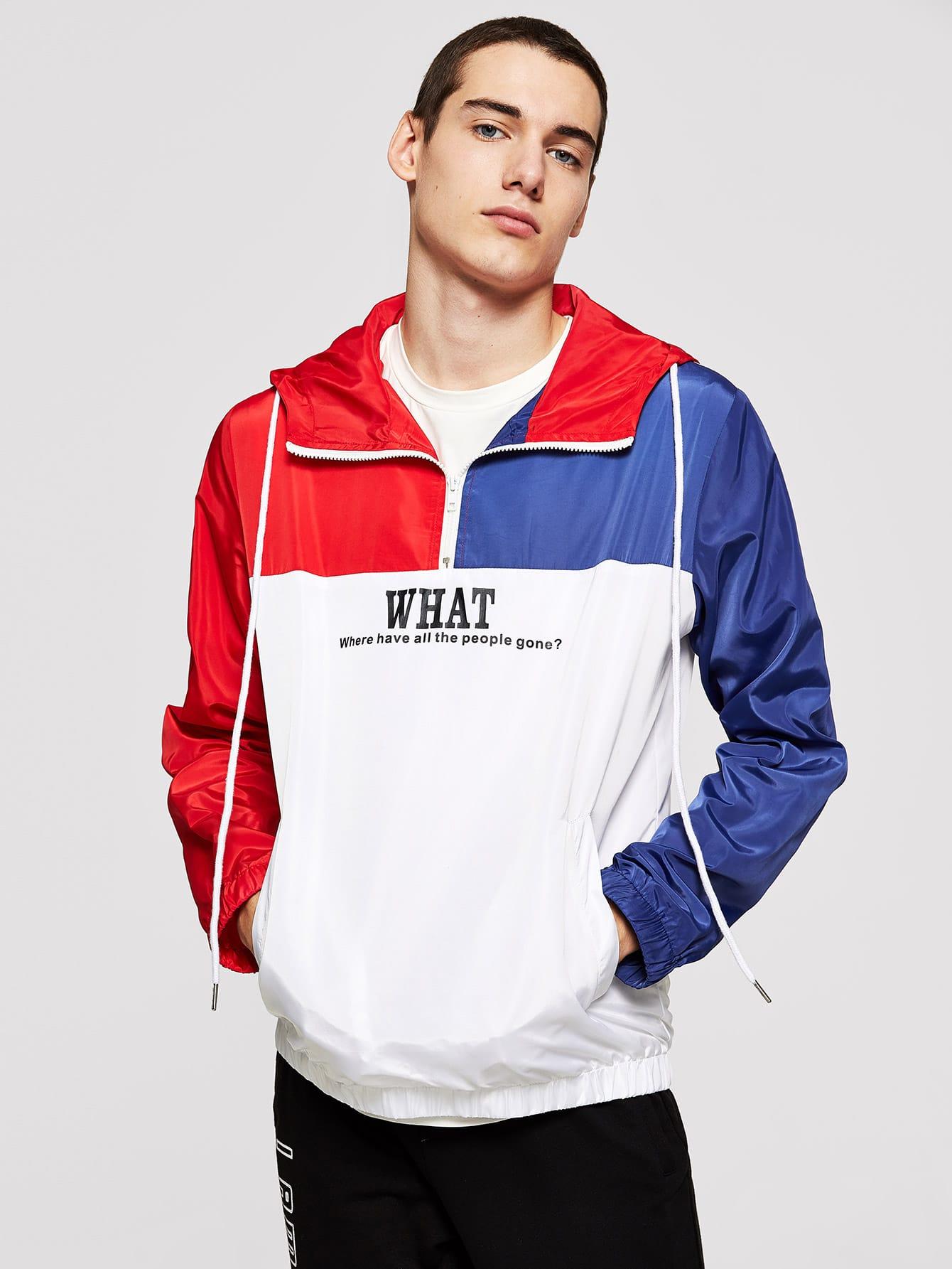Купить Мужская контрастная куртка с капюшоном на молнии, Misha, SheIn
