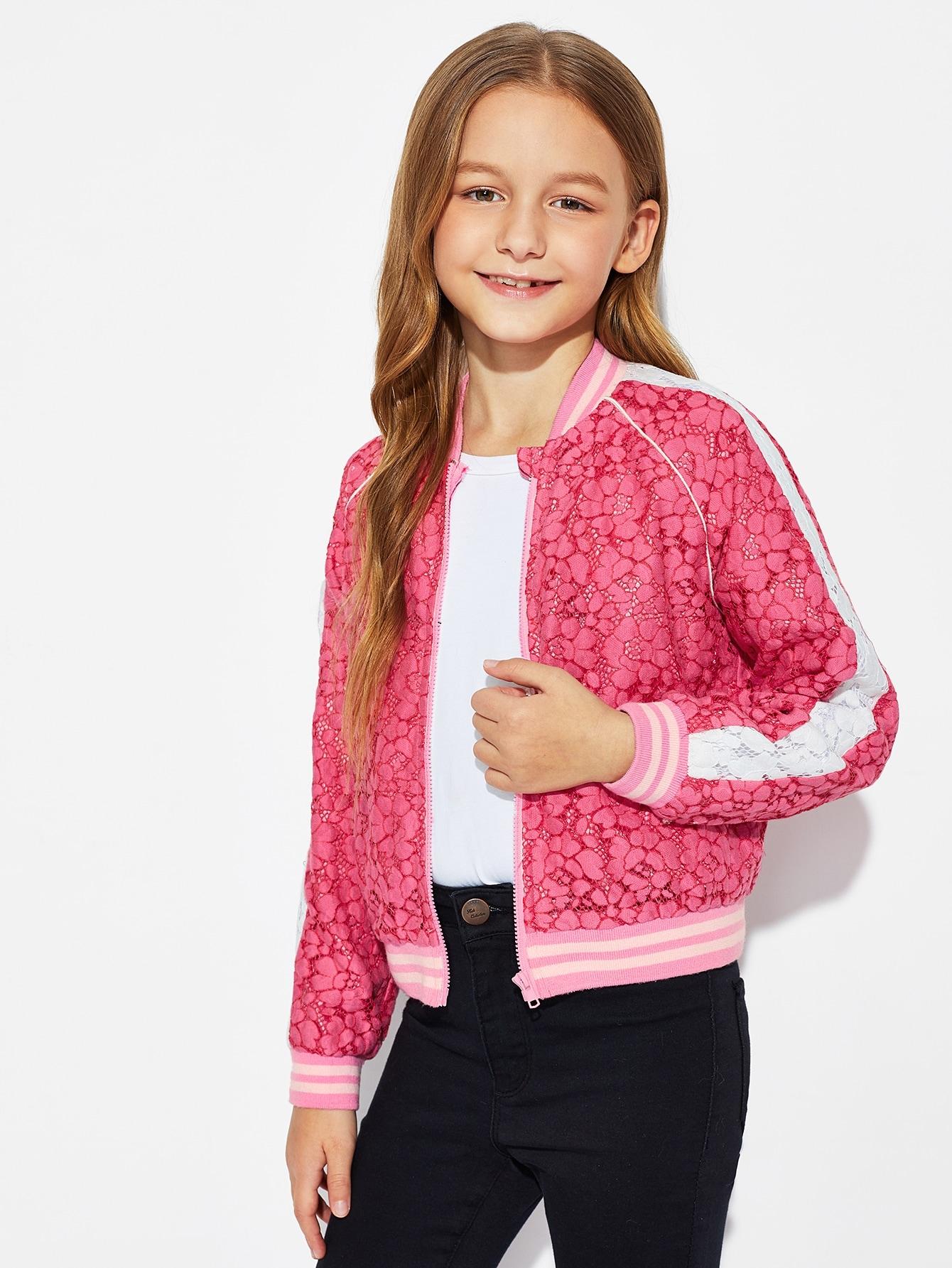 Купить Куртка на молнии с регланом-рукавом для девочек, Sashab, SheIn