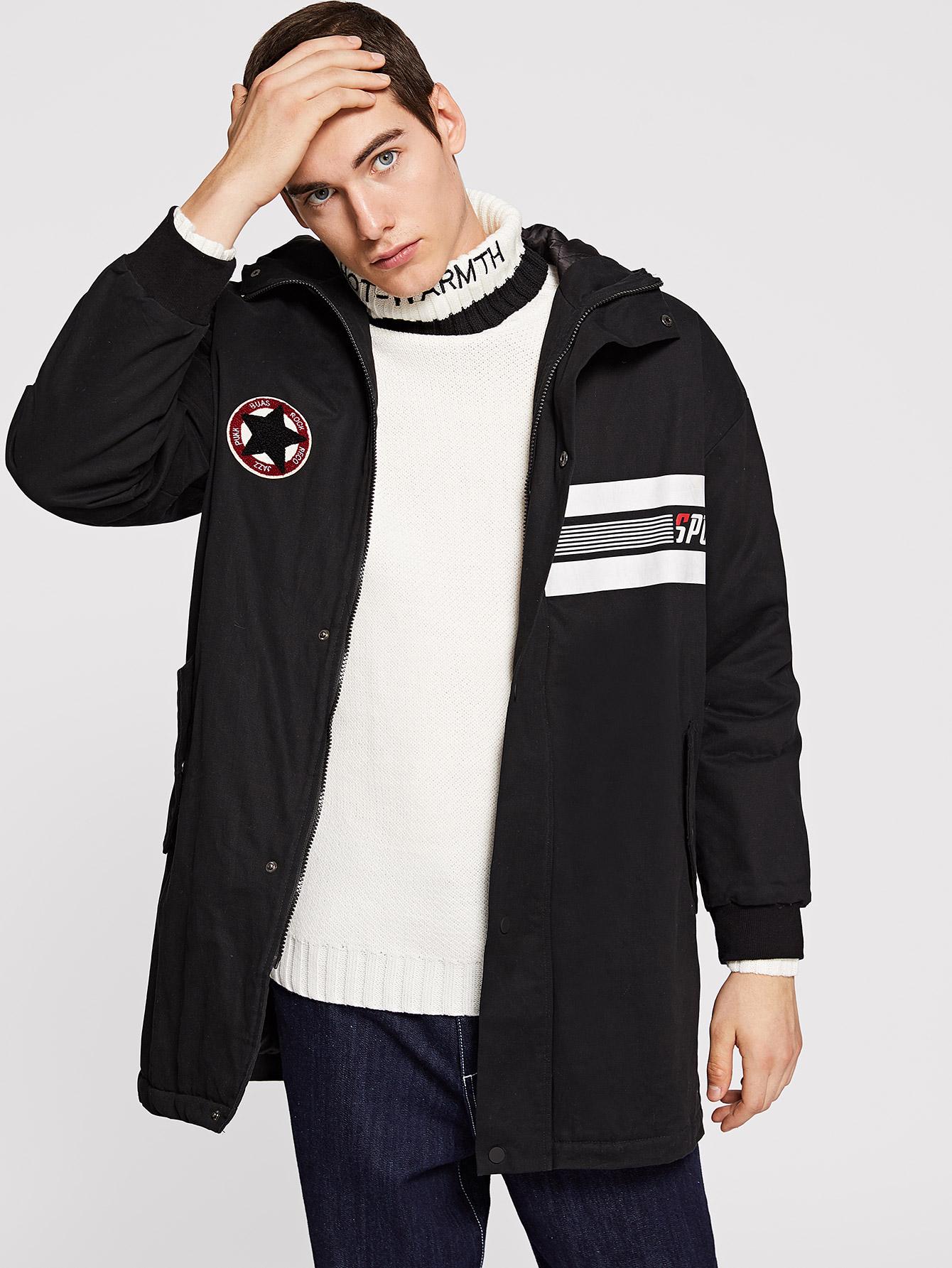 Купить Мужское пальто с капюшоном и заплатой, Misha, SheIn