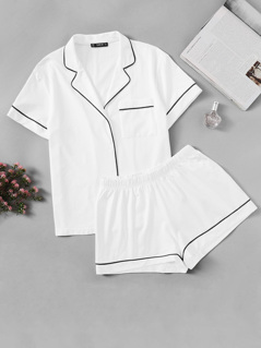 Contrast Piping Pocket Front Shirt & Shorts Pj Set