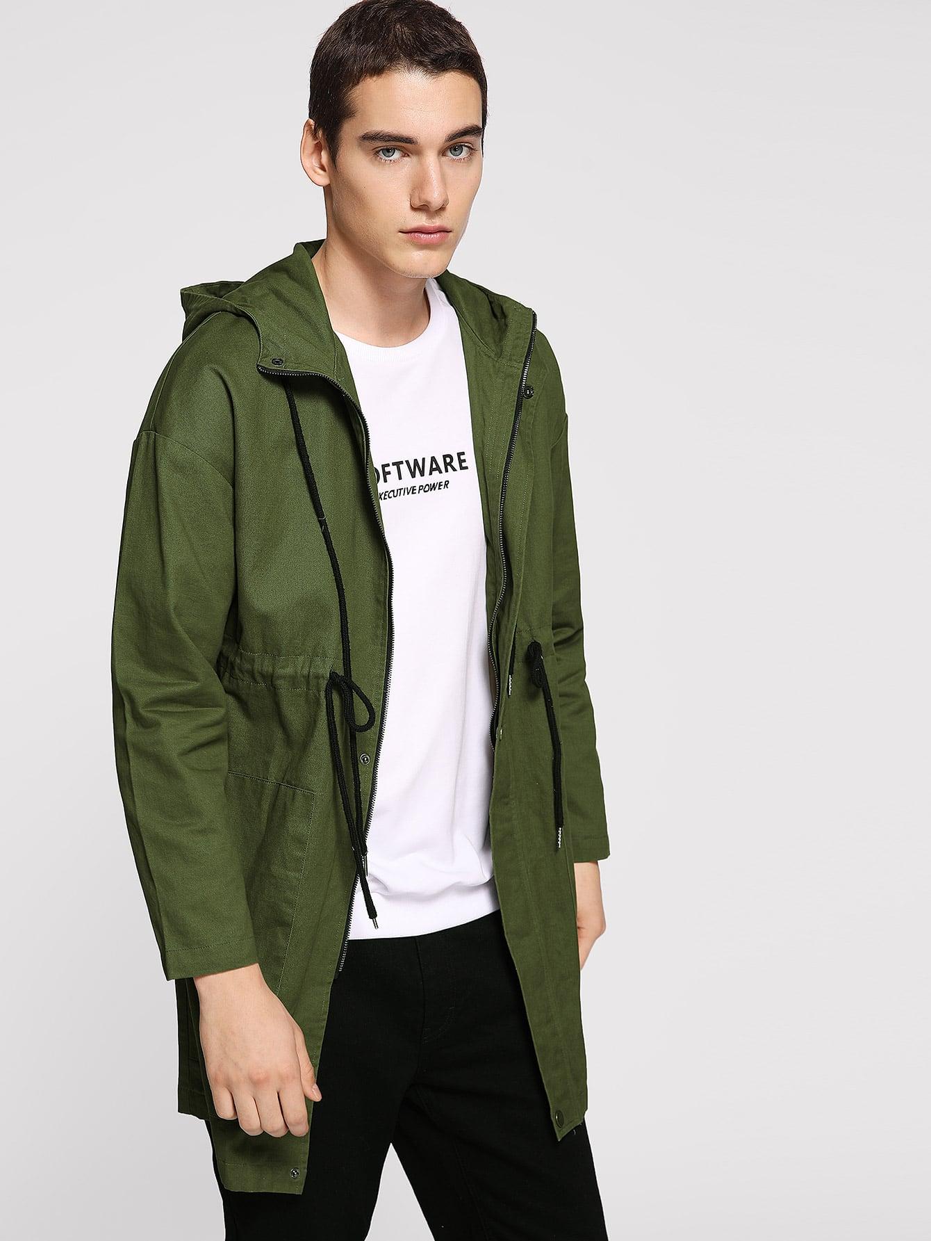 Купить Мужское однобортное пальто с капюшоном с кулиской, Misha, SheIn