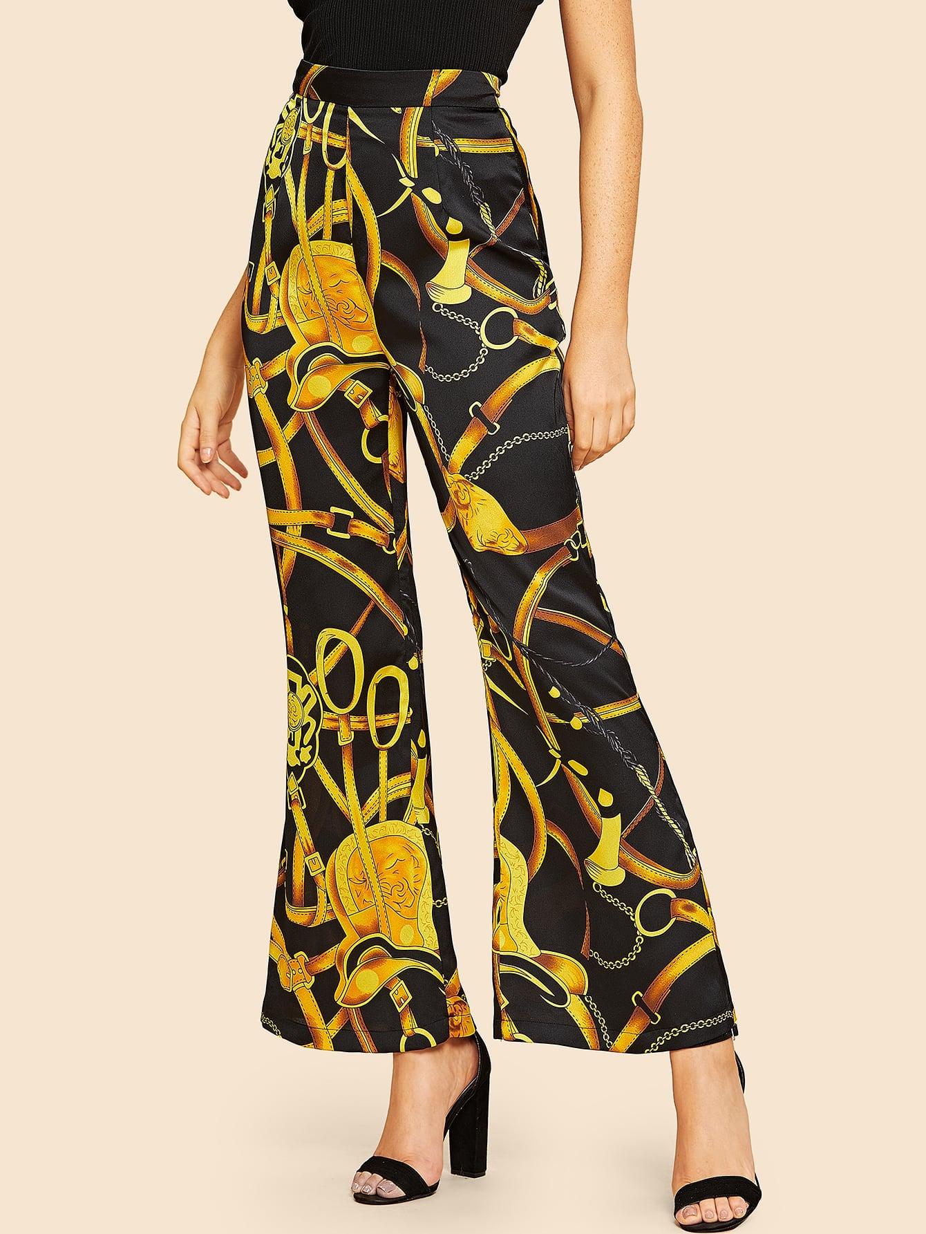 Купить 60s широкие брюки с цепным принтом, Nathane, SheIn