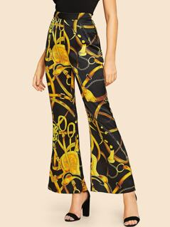 Equestrian Print Satin Flared Pants