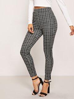 Split Hem Plaid Pants