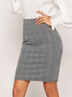 Wide Waistband Plaid Bodycon Skirt