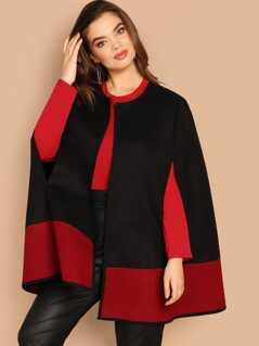 Plus Color Block Cape Sleeve Coat