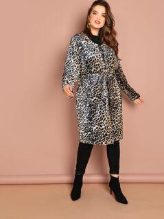 Plus Leopard Print Self Belted Coat